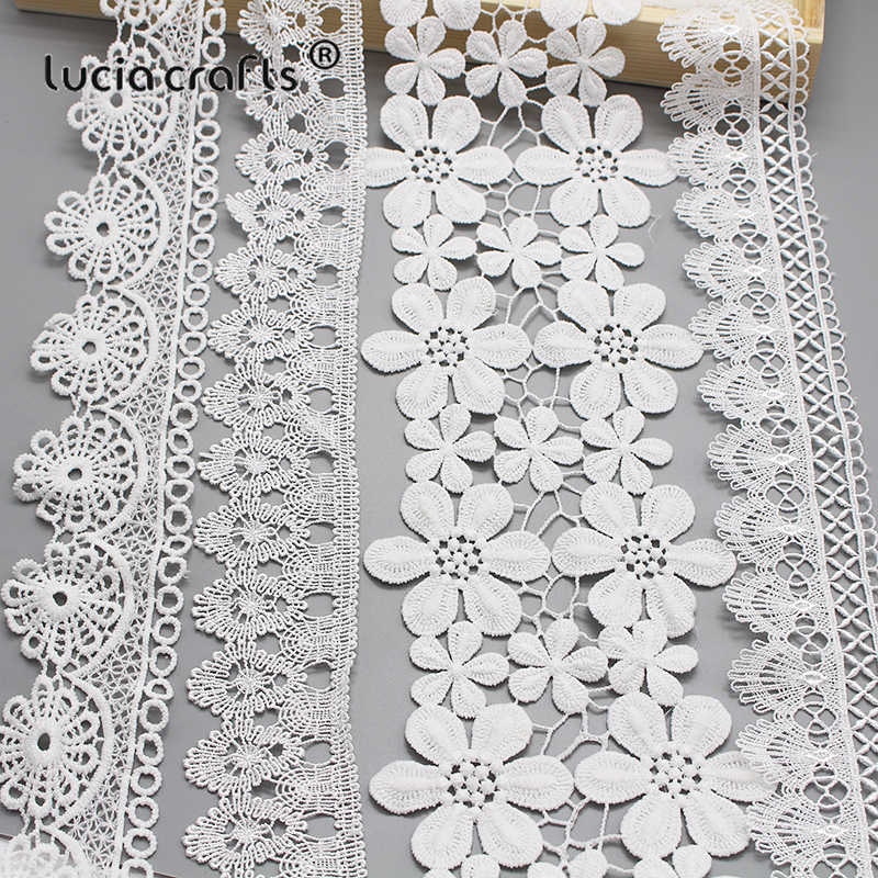 Lucia crafts 2y/lot Multi options White Flower Embroidery Lace Ribbon Fabric For Sew DIY Handmade Materials Accessories N0601
