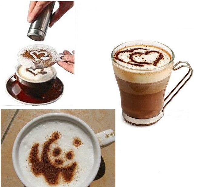16Pcs Fancy Coffee Pull Flower Mold Kafija Latte Cappuccino Barista mākslas trafareti Cake Duster veidnes Kafijas aksesuāri 667