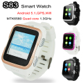 "3G Android Smart Watch Phone Wifi Bluetooth Smartwatch ZGPAX S83 GPS Sport Wristwatch 1.54"" PWM Screen HD Camera SIM"