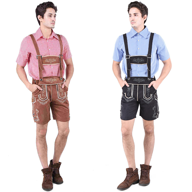 Mens Oktoberfest Lederhosen Outfit German Tradition Plaid Shirts Rompers Costume With Matching Suspender