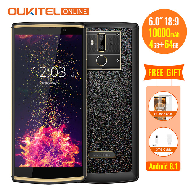 Oukitel K7 Android 8.1 6.0 Inch 18:9 Display 10000mAh 4GB RAM 64GB ROM 13MP+5MP MT6750T Quick Charge 4G Fingerprint Mobile Phone