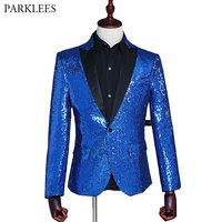 Shiny Sequin Stage Costumes Suit Blazer Men Slim Fit One button MC Host Clothing Blazer Nightclub Bar DJ Jacket Outerwear Male