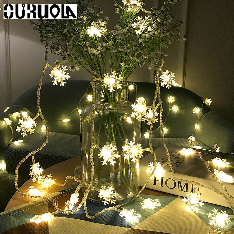 3m 20LEDS Snowflake LED String Lights Eid Mubarak Christmas Holiday Lighting For The Curtain Party Decoration Power By Battery