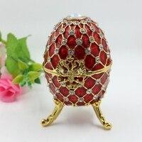 2014 موضة جديدة بيربل الفصح الحرف المعدنية المجوهرات مربع مربع بيضة بيضة فابرجيه حلية الهدايا الحمراء للنساء