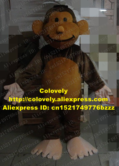 Vivid Brown Monkey Orangutan Mascot Costume Mascotte Gorilla Pongo Chimpanzee With Small Eyes Smiling Face No.3838 Free Ship Novelty & Special Use Costumes & Accessories