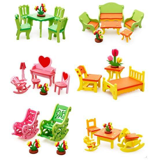 1pc baby wooden doll house furniture kids child diy handmade 3d dream house learning educational toys girl boys gifts brand baby wooden doll house