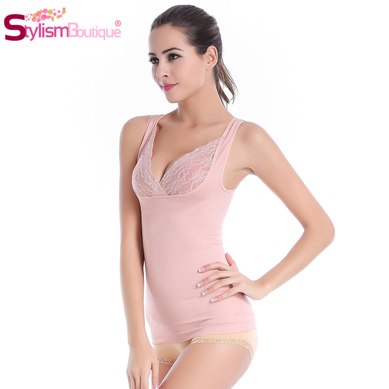 3e2b5857ca 1Piece Women Control Camisole Waist Trainer Corset Slimming Underwear Sexy  V neck Lace Push Up Shapewear Spandex Body Shaper-in Tops from Underwear ...
