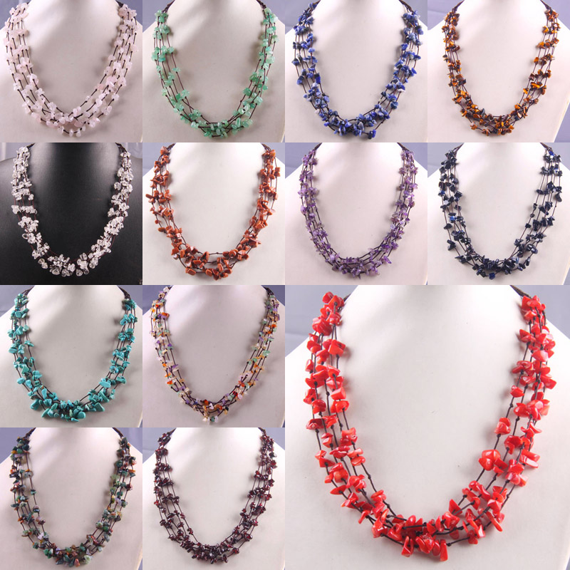 Natural Stone GEM Chip Beads Handmade Necklace 19 Inch Jewelry F028-F041