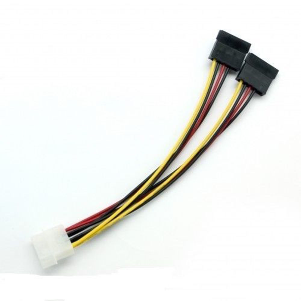 Hot 4 Pin IDE Male Molex To 2 Port 15 Pin SATA Female Dual SATA Y Splitter Female HDD Power Adapter Cable Computer Cables