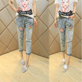 2016 new Korean fashion Mickey cartoon show thin cowboy pants seven Haren pants female one generation