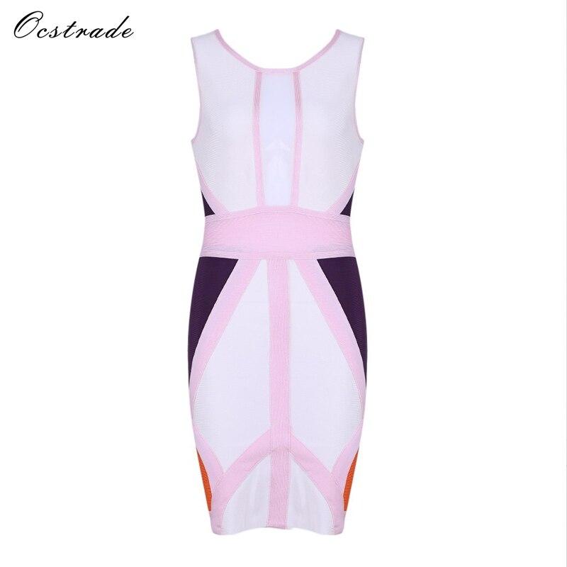 Ocstrade 2017 New Women Arrival Bandage Dress Sexy Sleeveless Pink&White&Purple Bodycon Bandage Dress Pencil Dress