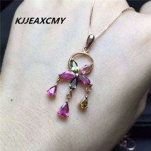 KJJEAXCMY Boutique jewelry Tourmaline Pendant 925 silver inlaid crystal gemstone
