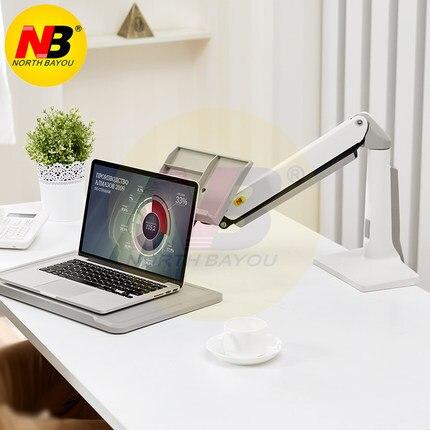 NB FB17 Full Motion siedzieć stojak na laptopa wsparcie składany ramię sprężyny gazowej 11 17 cal uchwyt na laptopa stojak na notebooka z podstawką na klawiaturę do montażu na