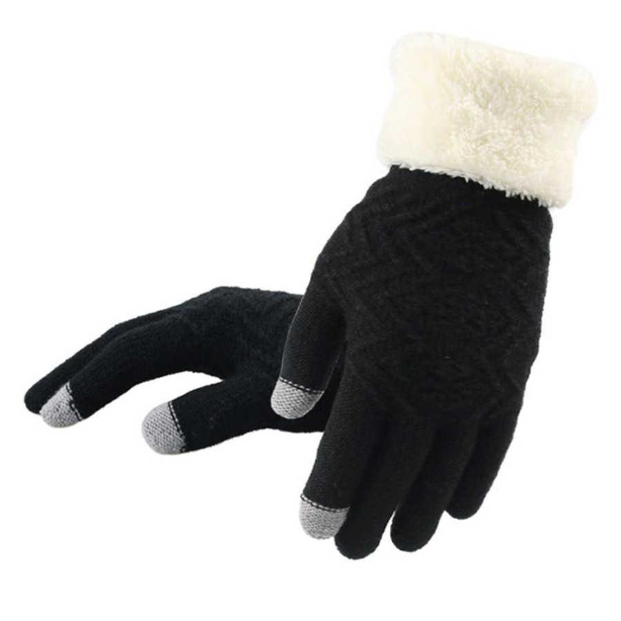 ใหม่ฤดูหนาวสัมผัสหน้าจอถุงมือถักแฟชั่นผู้หญิงถักถุงมือถุงมือหญิงหนา Plush นาฬิกาข้อมือขับรถถุงมือขายส่ง