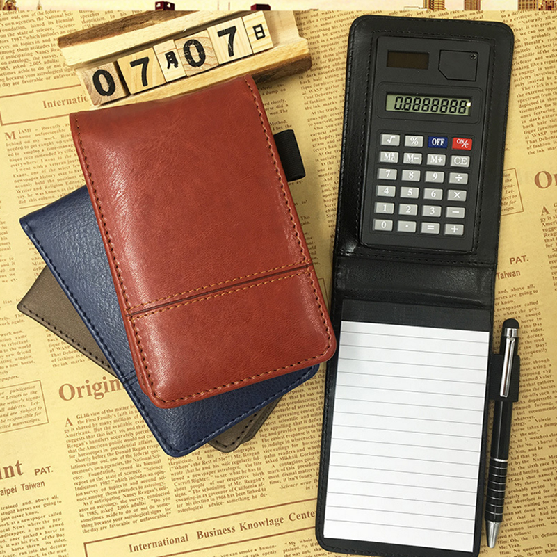 A7 PU Leather Notebook Notepad Diary Memo Planner Multifunction Pocket Mini Notepad with Calculator Stationery