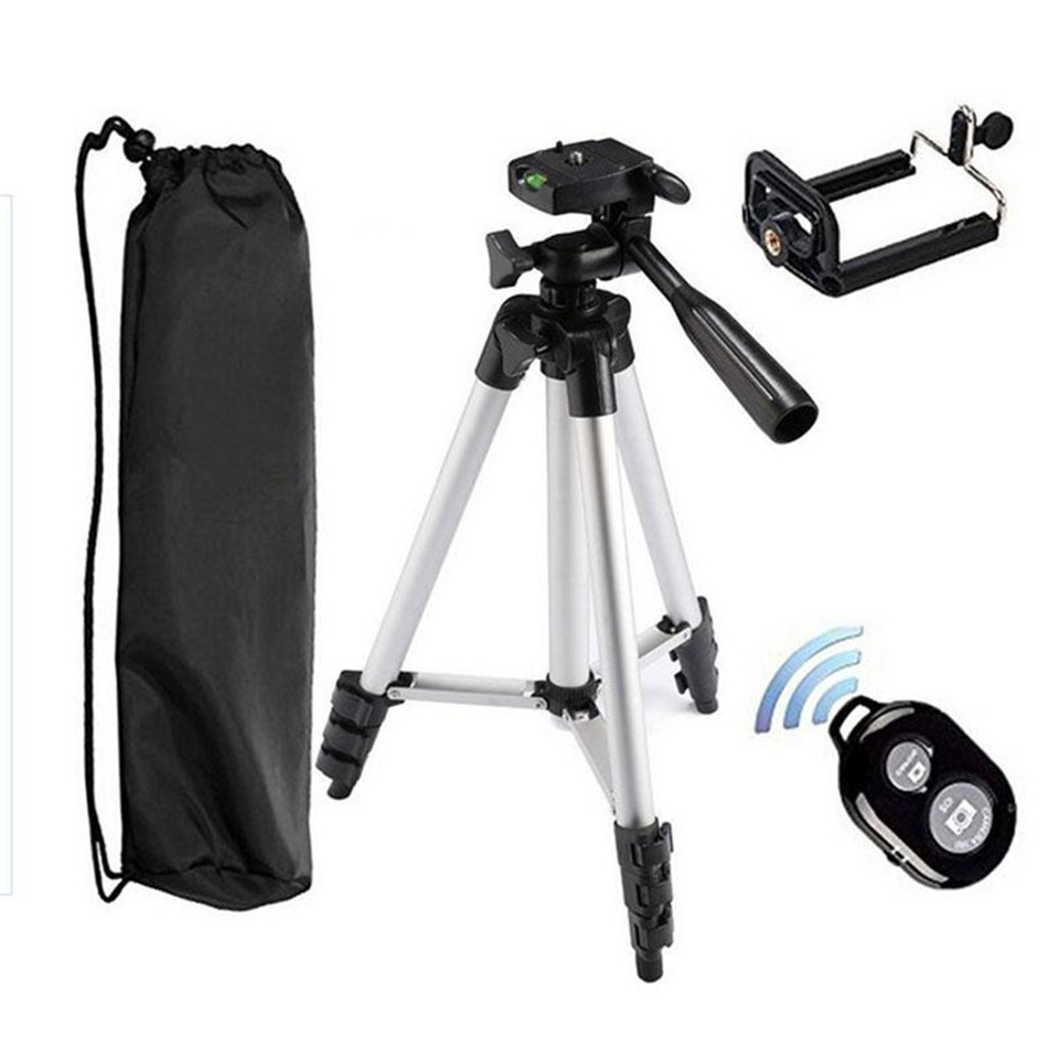 Aluminum Alloy Tripod Bluetooth Remote Control Self Timer Clip Holder for Cellphone Smartphone iPhone Samsung Selfies