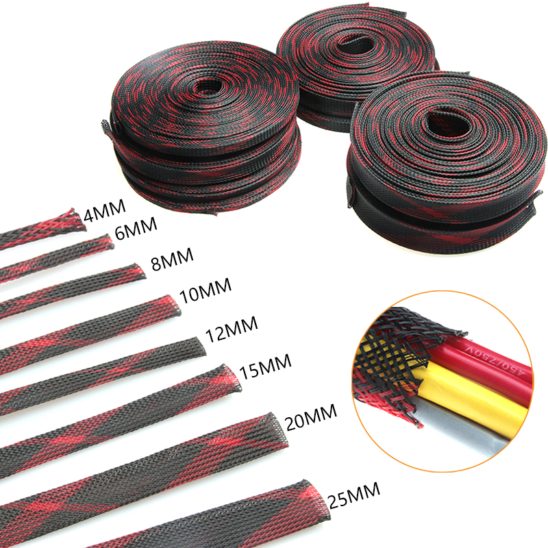 10M 8 Types Insulation Red&Black Braided Sleeve Expandable Cable Sleeves 4/6/8/10/12/15/20/25 mm Wire Gland Cables Protection