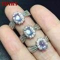 Леди Природный лунный камень драгоценный камень кольца Настоящее стерлингового серебра 925 Женщин камень ювелирные изделия