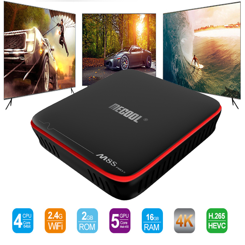 MECOOL M8S PRO W Android 7.1 TV Box 2GB ROM 16GB RAM Smart TV BOX Amlogic S905W Quad Core 2.4GHz WiFi 1080P 4K H.265 Set Top Box mx plus amlogic s905 smart tv box 4k android 5 1 1 quad core 1g 8g wifi dlna потокового tv box