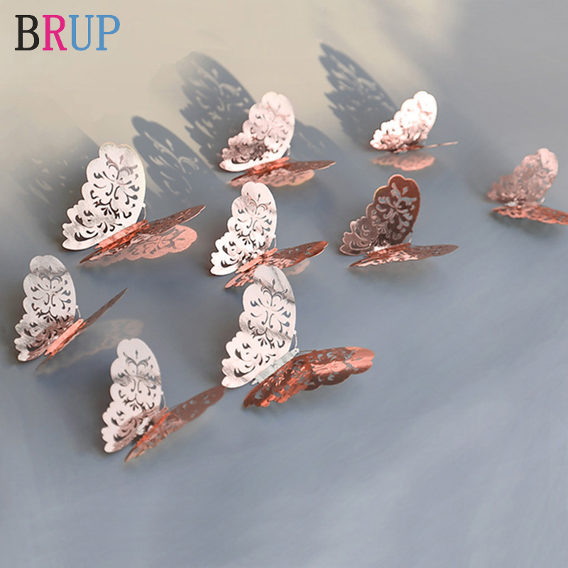 12Pcs/lot Rose Gold Color 3D Hollow Golden Silver Butterfly Wall Stickers Home Decorations Wall Decals For Party Wedding Shop