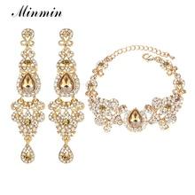 Minmin, новинка, набор свадебных ювелирных украшений в форме люстры с кристаллами для женщин, набор сережек и браслетов, свадебные аксессуары EH162+ SL037