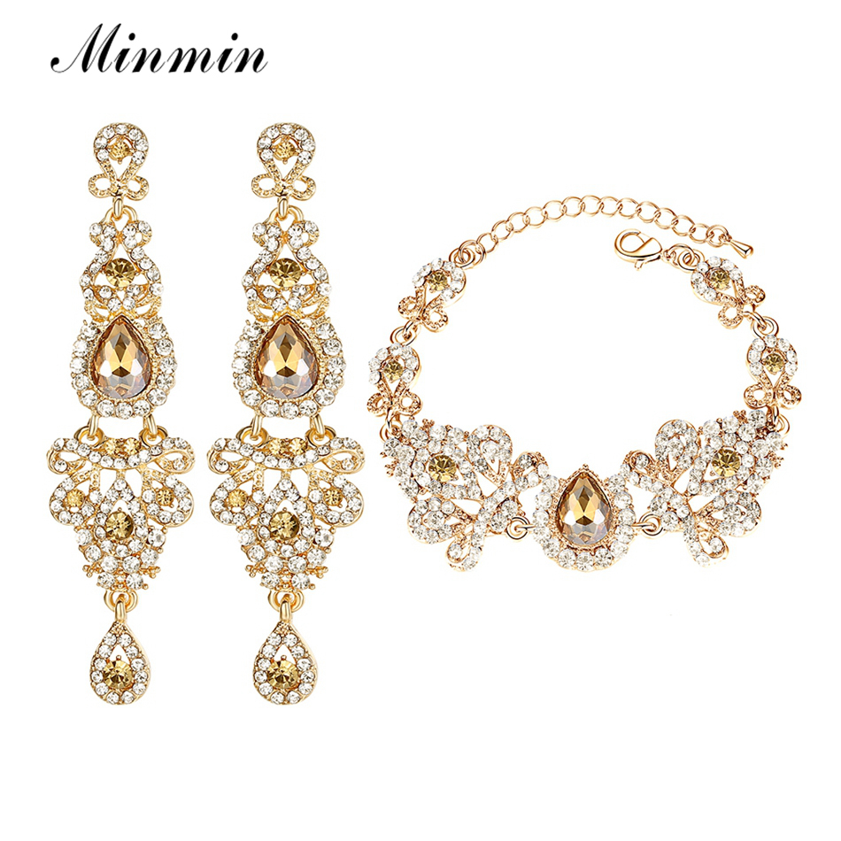 Minmin 2018 New Chandelier Shape Bridal Crystal Jewelry Sets for Women Earrings and Bracelet Sets Wedding Accessory EH162+SL037 viennois new blue crystal fashion rhinestone pendant earrings ring bracelet and long necklace sets for women jewelry sets