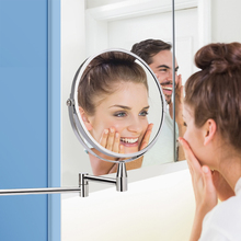 1X/5X Magnifying Bathroom Mirror Makeup Mirror Wall Mounted 360 Rotating Adjustable Double Sided Cosmetic Arm Extend Mirror недорого