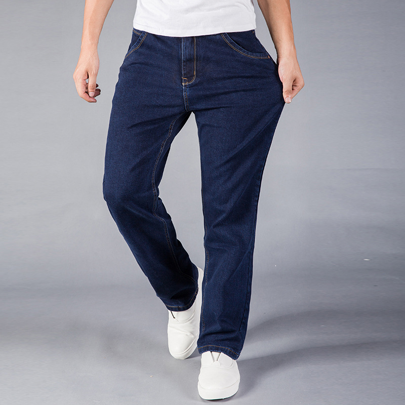 Odinokov Brand Mens Jeans Plus Size 30-44 Stretch Denim  Men's Straight Jean Pants Casual Relax Loose Fit Jeans Trousers Pants sulee brand autumn winter mens heavyweight stretch denim jeans casual fit loose relax trousers pants plus size 42 44