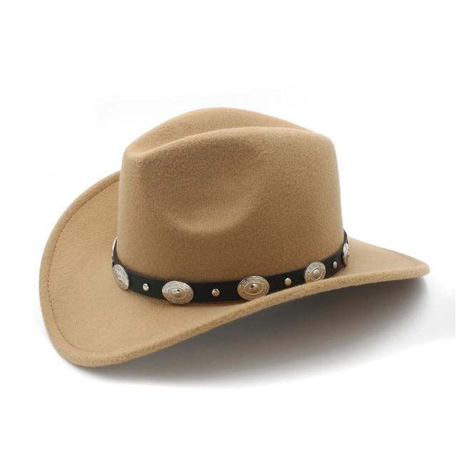 Vintage Wolle Kinder Kinder Western Cowboy Hut Für Junge Mädchen breiter  Krempe Cowgirl Jazz Kappe Mit aaaca8fcad2