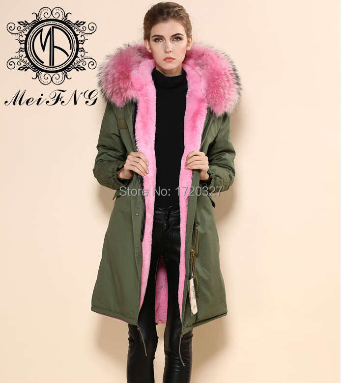 f797256f9be ... Latest design wholesale winter RACCOON collar fur coat cotton shell  long coat pink korea style fashion ...