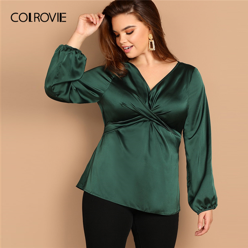 COLROVIE Plus Size Green Twist Cross Wrap Satin Elegant   Blouse     Shirt   Women Clothes 2019 Spring Fashion   Shirts   Office Ladies Tops