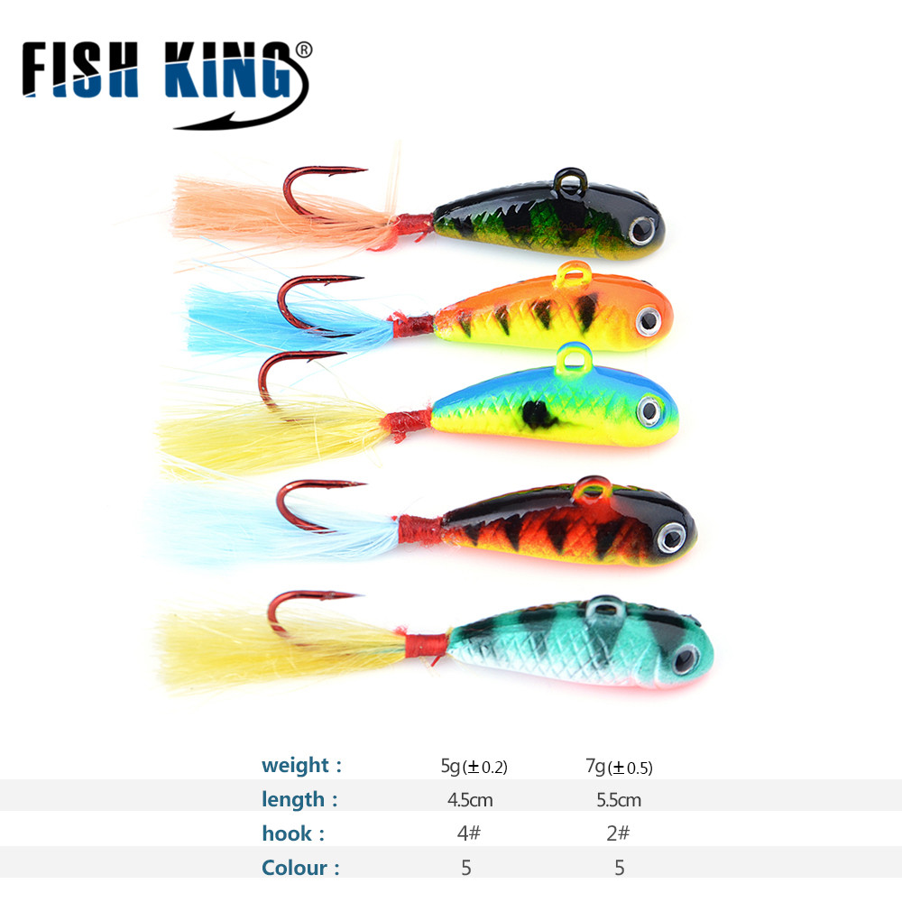 FISH KING Winter Ice Fishing Lure 5pcs/pack 5 color Hard Bait Lure Jig Head Hook With Feather Isca Artificial For Fishing Tackle fishing baits with hook color assorted 5 pack