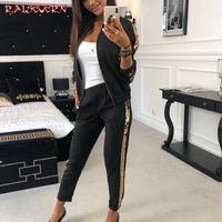 RAISEVERN 2019 Full Sleeve Patchwork Sexy Autumn Winter Tracksuit Women Set Outfit Sequin Two Pieces Suits Casual Overalls Zip