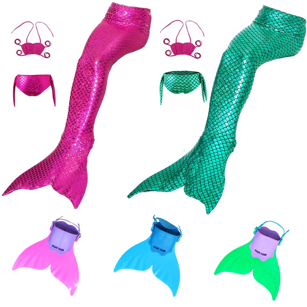 Children Mermaid Tails For Swimming Costume Girls Mermaid Swimsuit Cosplay Kids Swimmalbe Bikini Princess Dress Can Fit Monofin
