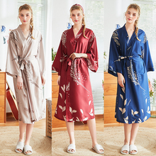 Roseheart Spring Fashion Red Blue Sexy Printed Women Robe Lingerie Sleepwear Faux Silk Nightwear Bathrobe Woven Pajama Plus Size