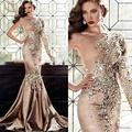 Lujo Crystal Vestidos de Noche 2017 Abaya En Dubai Un Hombro Rhinestone Vestidos de Oro Vestidos de Baile de Manga Larga Musulmán