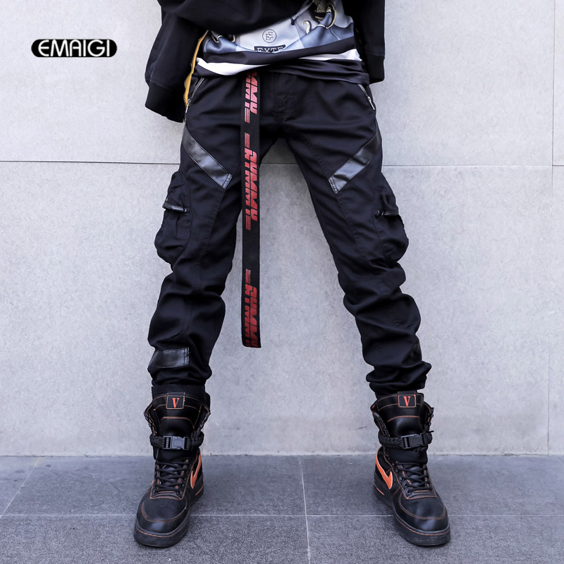 Men High Street Fashion Leather Pocket Splice Casual Cargo Pant Male Hip Hop Harem Pants Long Trousers