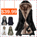 Pp livre Moda Mulheres Engrossar Fleece Faux Fur Quente Casaco de Inverno Jaqueta Parka Casaco walsonstyles