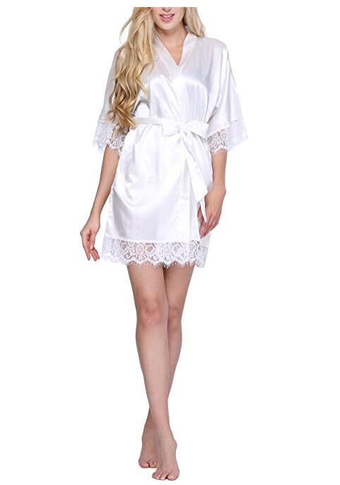 Sexy Wedding Dressing Gown Women Short Satin Bride Robe Lace Silk Kimono Bathrobe Summer ...