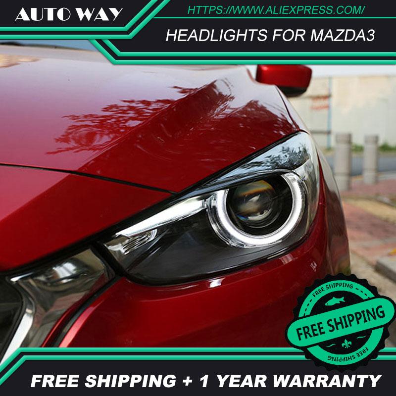 カースタイリング Led HID LED ヘッドライトヘッドランプケースマツダ 3 Mazda3 ヘッドライトアクセラ M3 2014 2015 2016 バイキセノンレンズ低ビーム  グループ上の 自動車 &バイク からの カーライトの組み立て の中 2