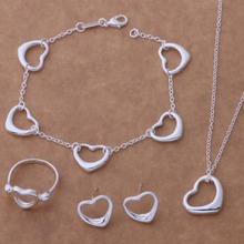 AS070 Hot 925 sterling silver Jewelry Sets Bracelet 126 + Necklace 245 + Earring 190 + Ring 241 /bfmajwta admaiuta