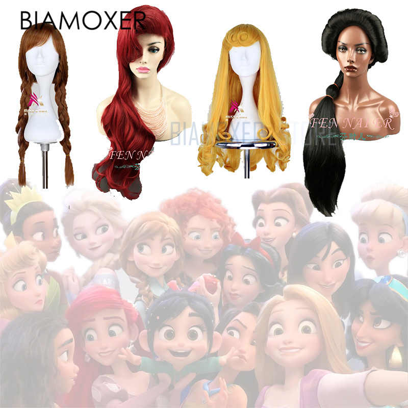 Cheveux blanc neige Ralph casse l'internet Cosplay perruque princesse raiponce Belle aurore Merida Moana cendrillon jasmin Ariel Tiana
