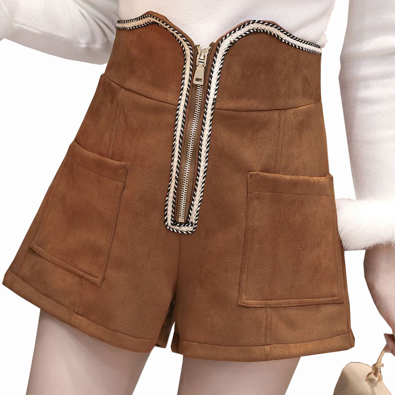 2018 New Autumn & Winter Zipper Suede Shorts for Women Outer Wear High Waist Loose Wide Leg Short Feminino Plus Size Short Mujer