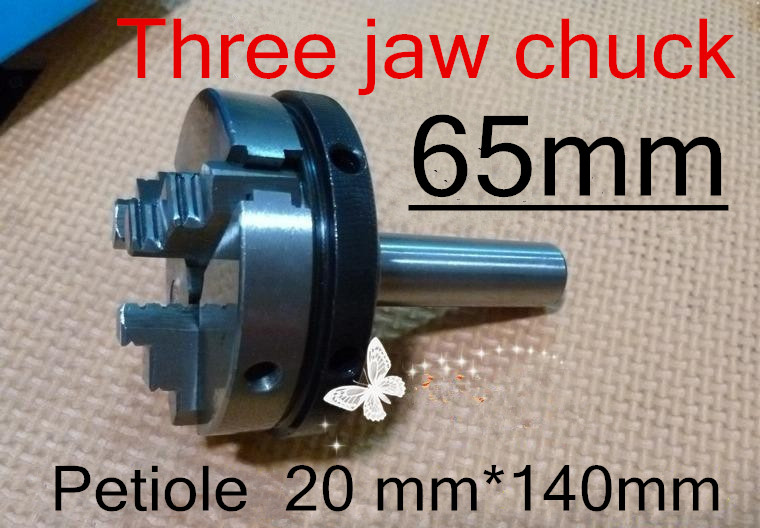 65mm Straight shank Three jaw chuck Petiole 20mm length 140mm Manual The lathe tool Free shipping
