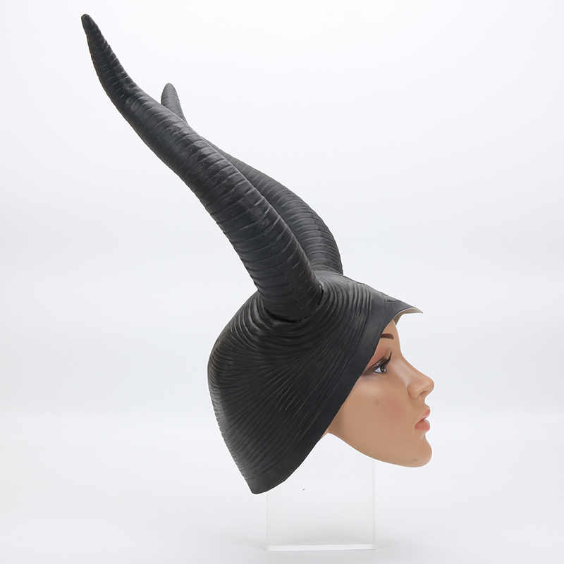 Latex Creepy Novidade Chifres Chapéus Cosplay Halloween Festa Temática Jolie Maléfica Headpiece Hat Cap Máscaras para Mulheres Adultas