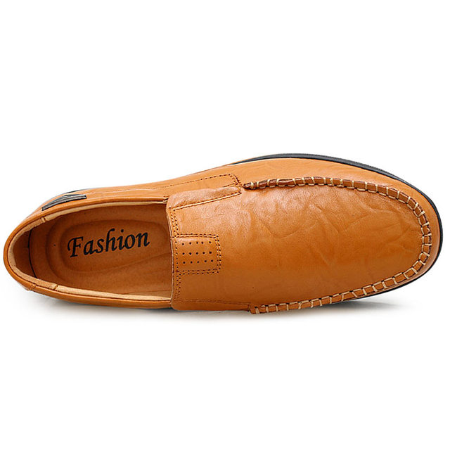 Genuine Leather Moccasin Black Flats Breathable Men's Shoes 2