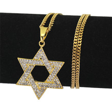 Star of David Hip Hop Rhinestone Necklace Jewish Symbol Pendant Stars & For jewelry Dropshipping
