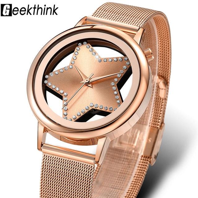 GEEKTHINK Luxury Quartz Watch Women Fashion steel star Rhinestone Hollow Analog