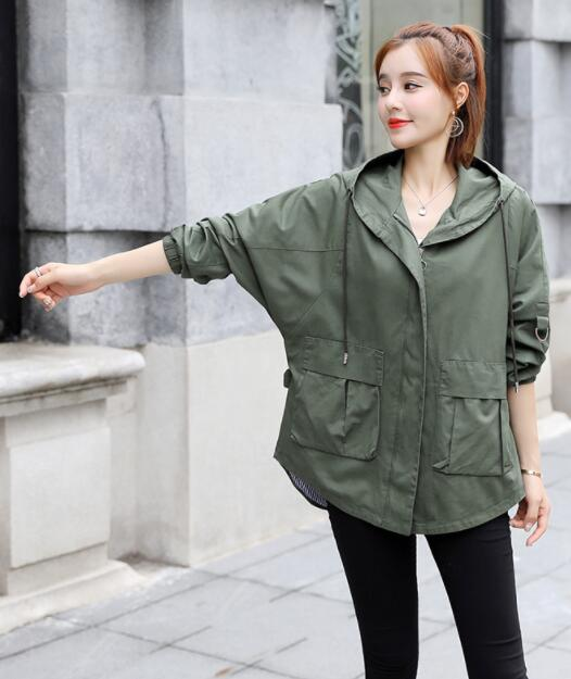 2018 Autumn new hat loose casual long sleeve short jacket F06