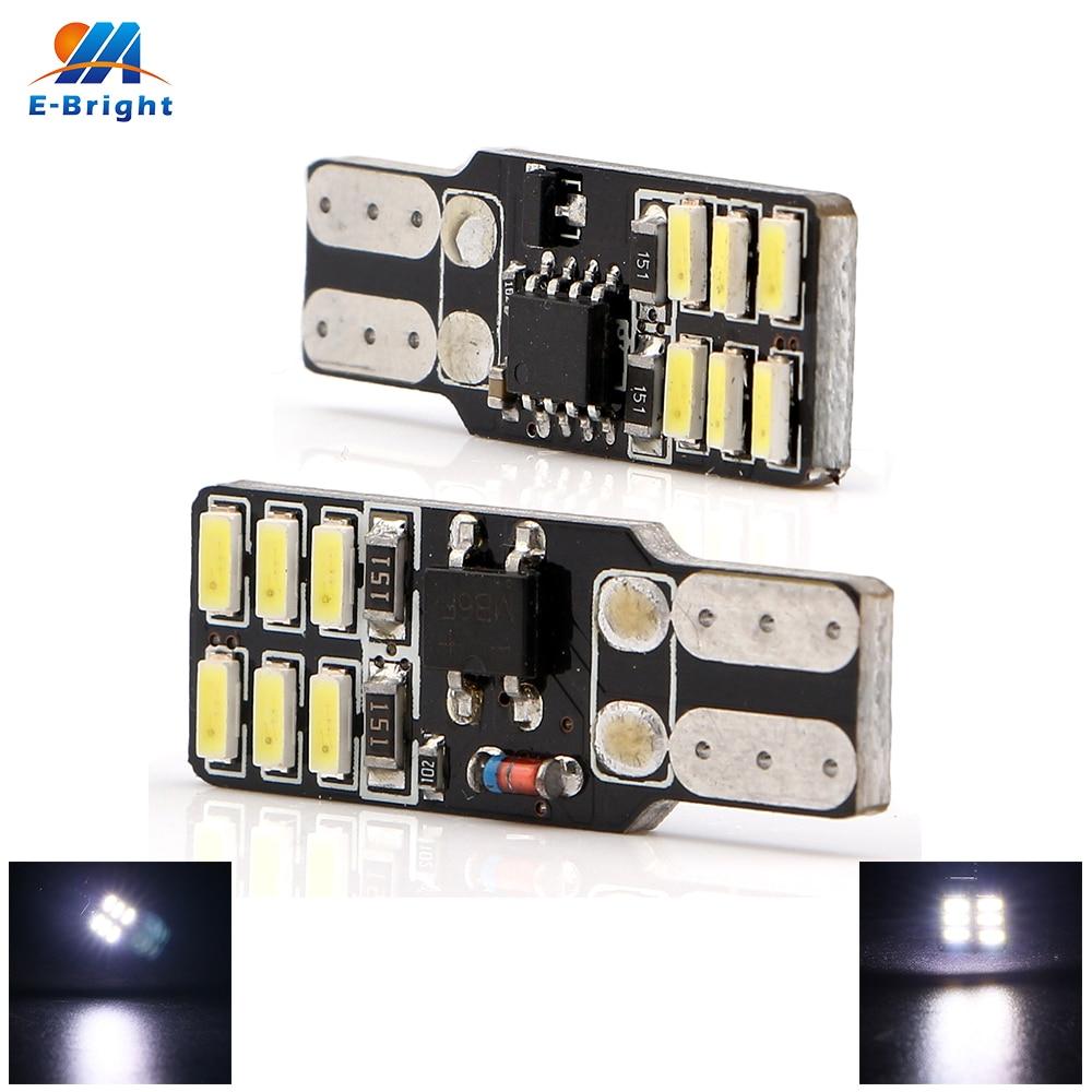 4-50pcs 12V T10 PCB 3014 12 SMD Bulbs Car Indicator Side Maker Turn Signals Light Constant/Strobe Lighting White Free Shipping